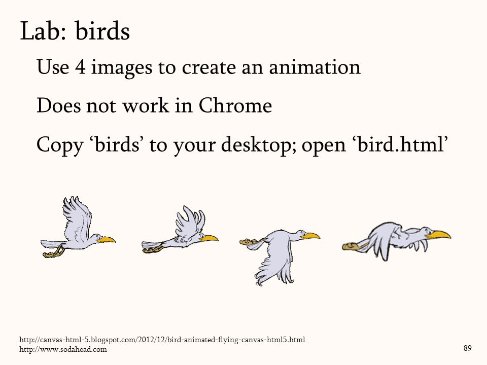 Lab: birds Use 4 images to create an animation Does not work in Chrome