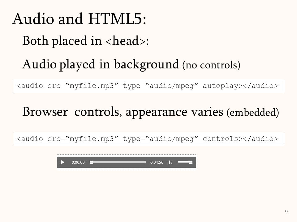 Audio and HTML5: Both placed in <head>: