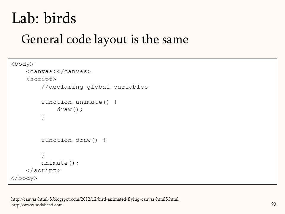 Lab: birds General code layout is the same <body>