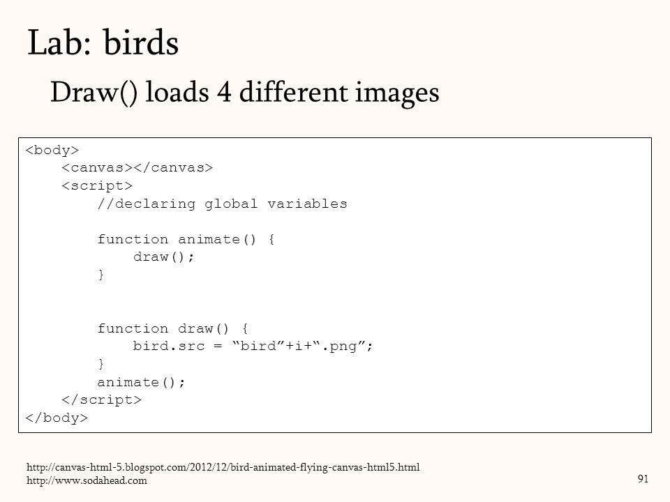 Lab: birds Draw() loads 4 different images <body>