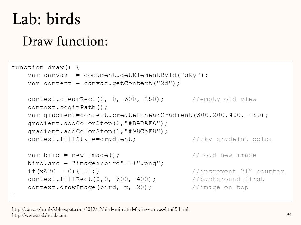Lab: birds Draw function: function draw() {