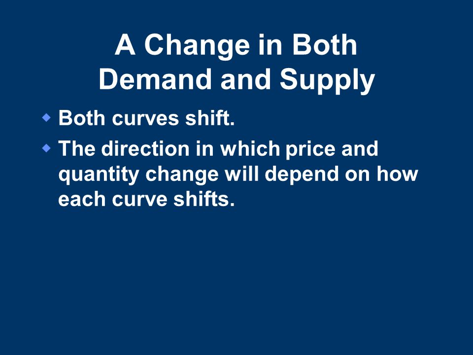 A Change in Both Demand and Supply