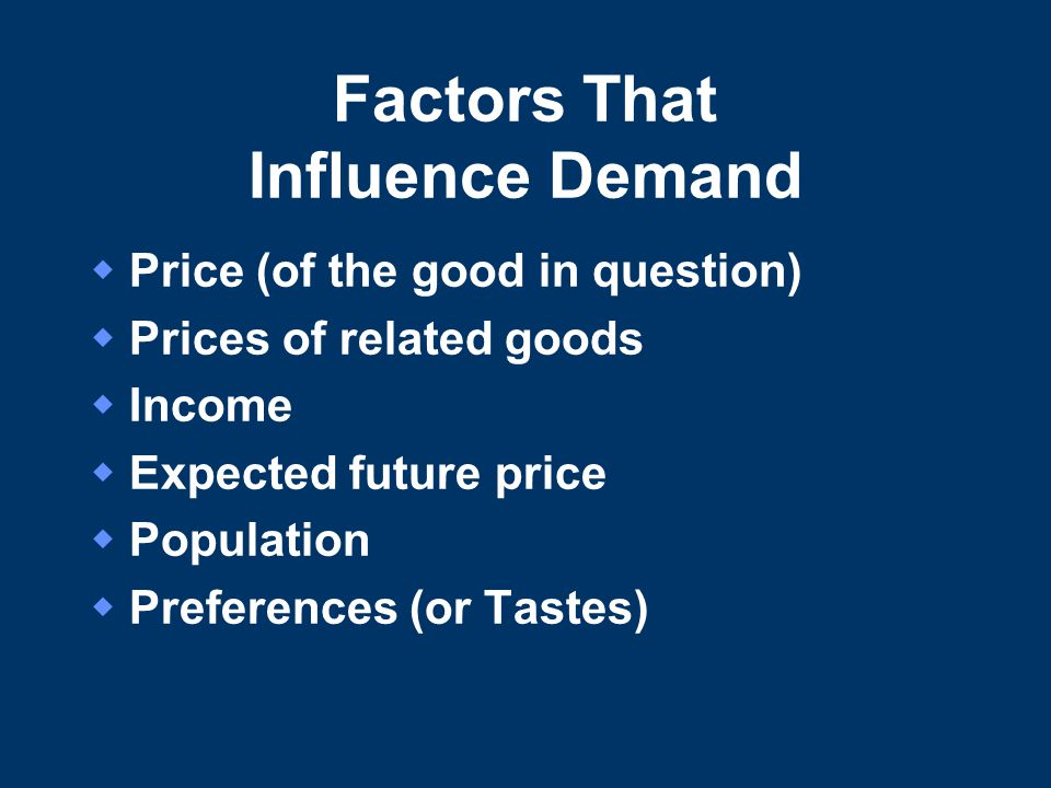 factors that influences the demand for Factors affecting consumer buying behavior of mobile  and it also acted as a motivational force that influences them to go for a  these factors include.