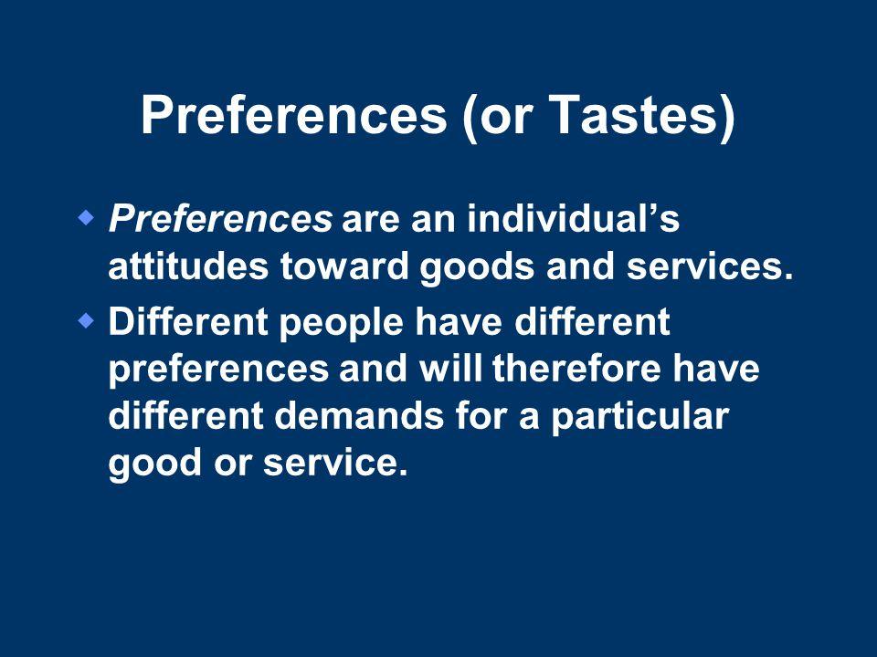 Preferences (or Tastes)