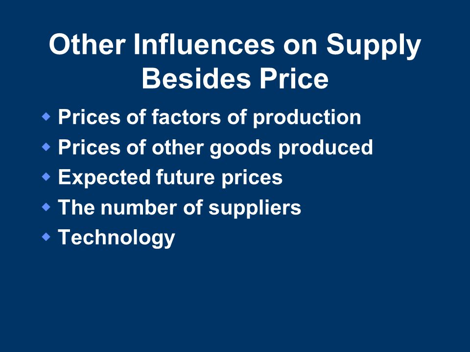 Other Influences on Supply Besides Price