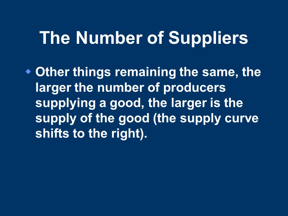 The Number of Suppliers