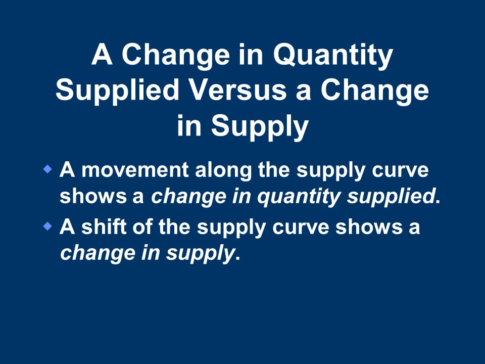A Change in Quantity Supplied Versus a Change in Supply