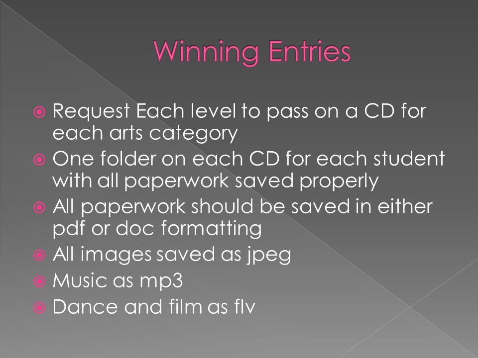 Winning Entries Request Each level to pass on a CD for each arts category. One folder on each CD for each student with all paperwork saved properly.