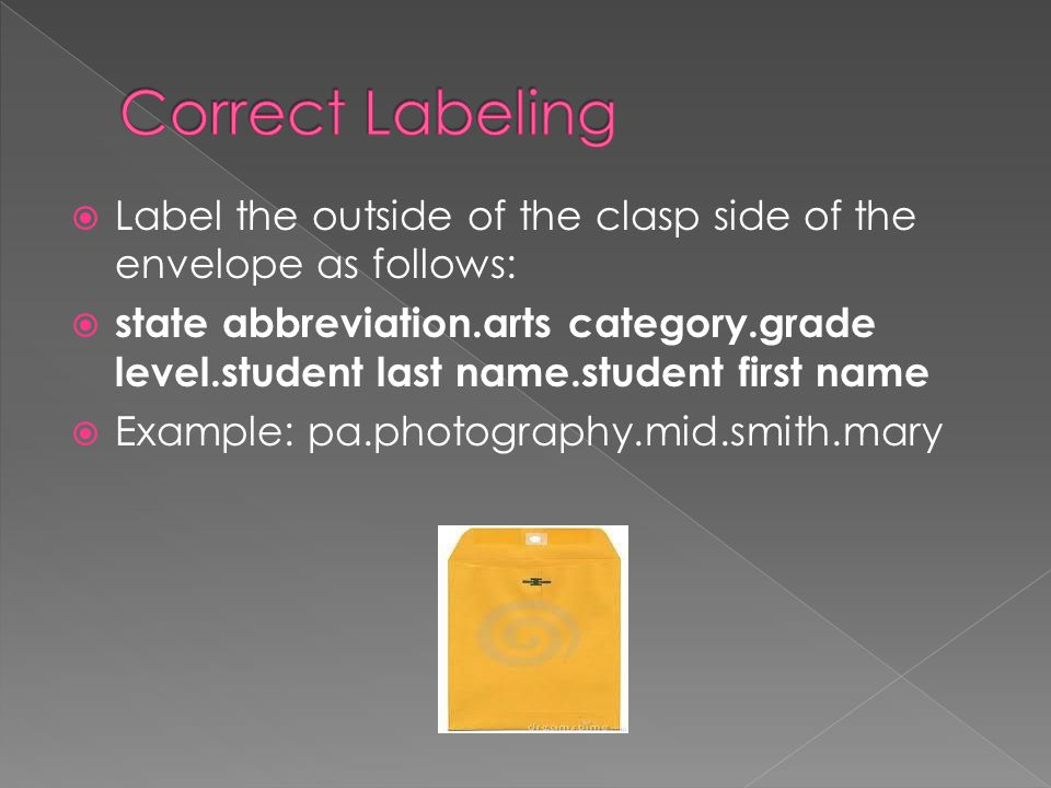 Correct Labeling Label the outside of the clasp side of the envelope as follows: