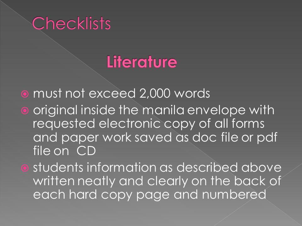 Checklists Literature
