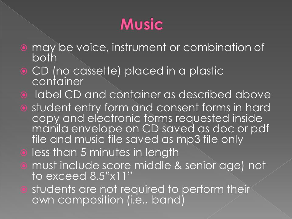 Music may be voice, instrument or combination of both