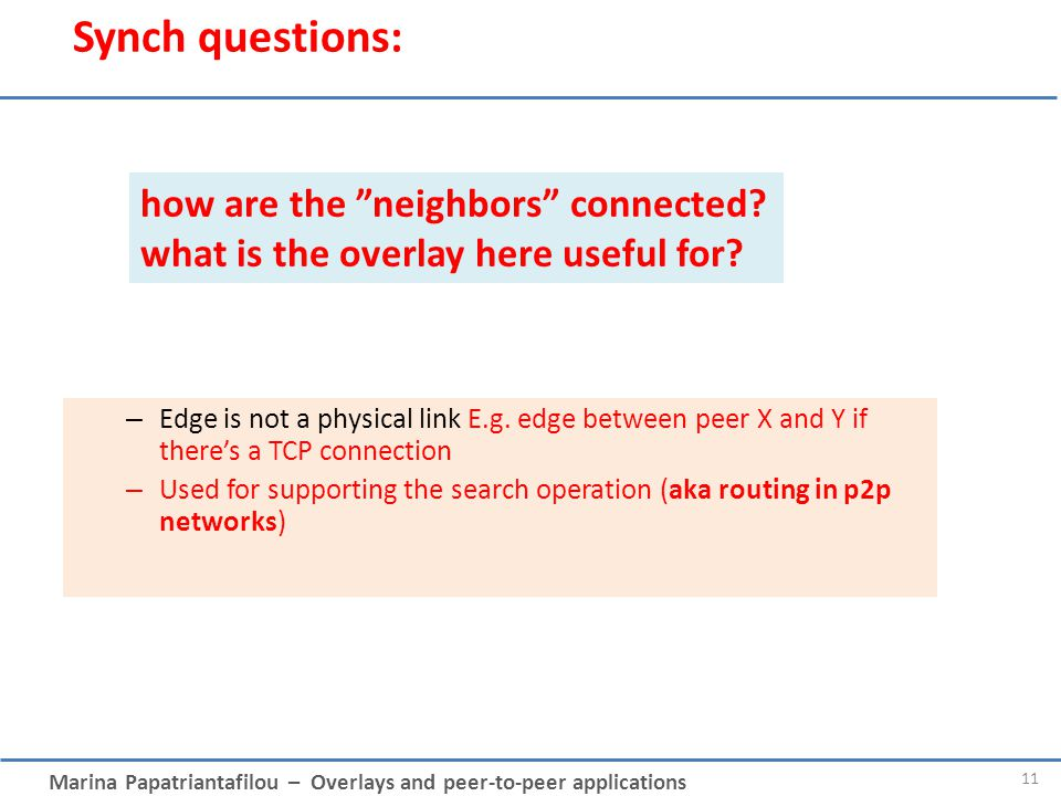 Synch questions: how are the neighbors connected what is the overlay here useful for