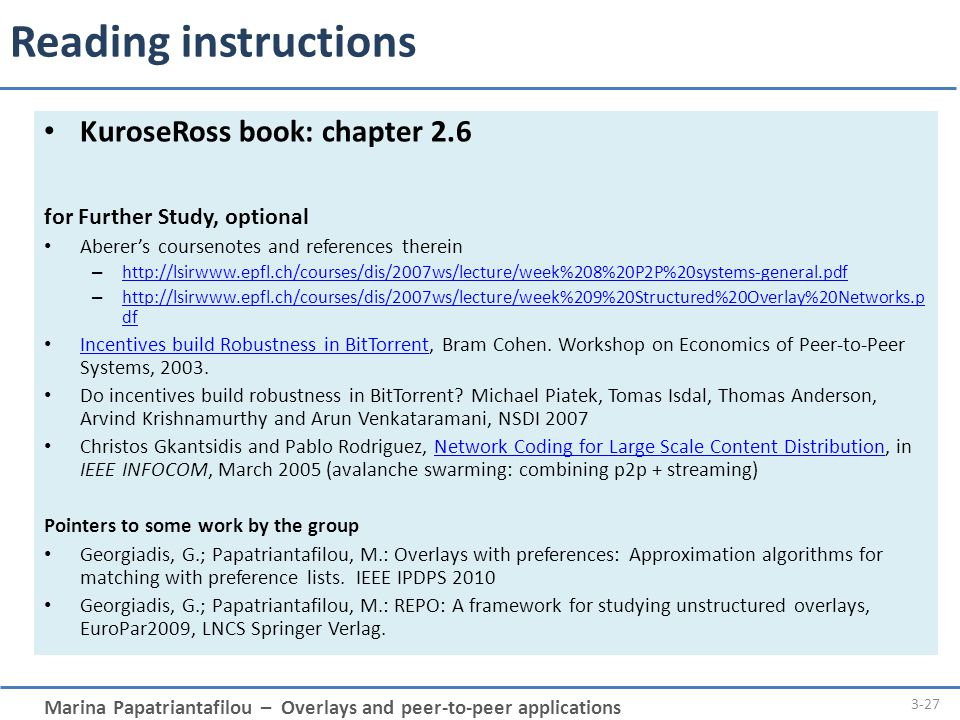 Reading instructions KuroseRoss book: chapter 2.6
