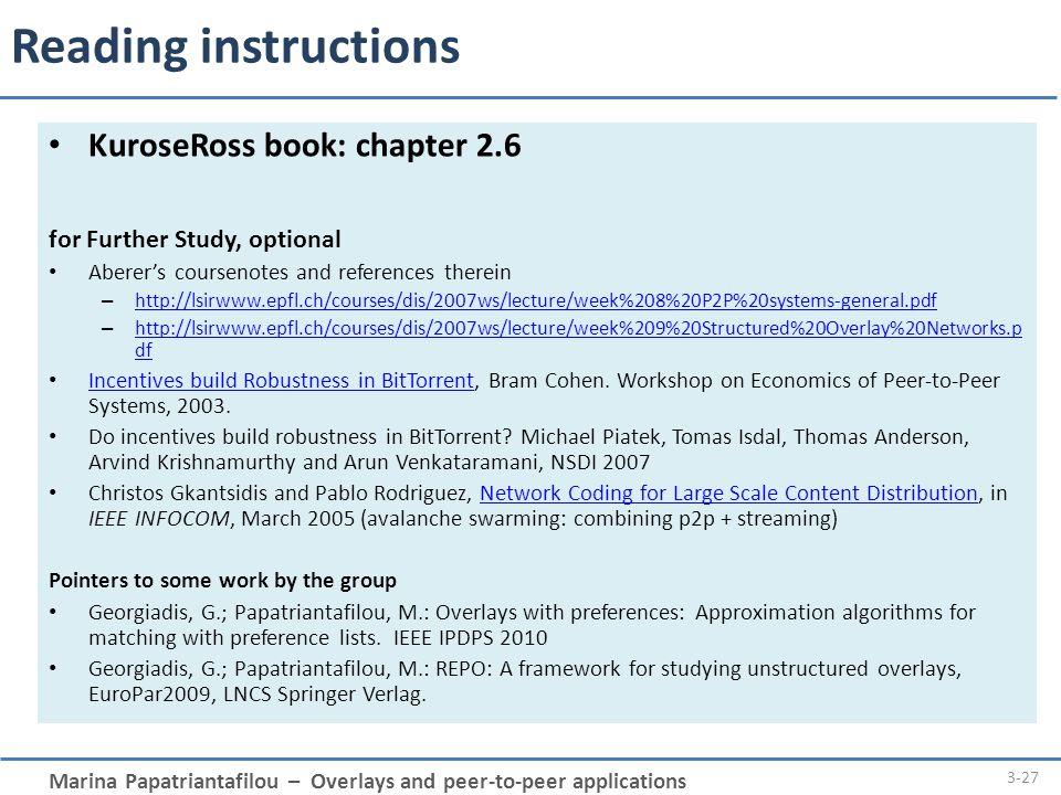 Reading instructions KuroseRoss book: chapter 2.6