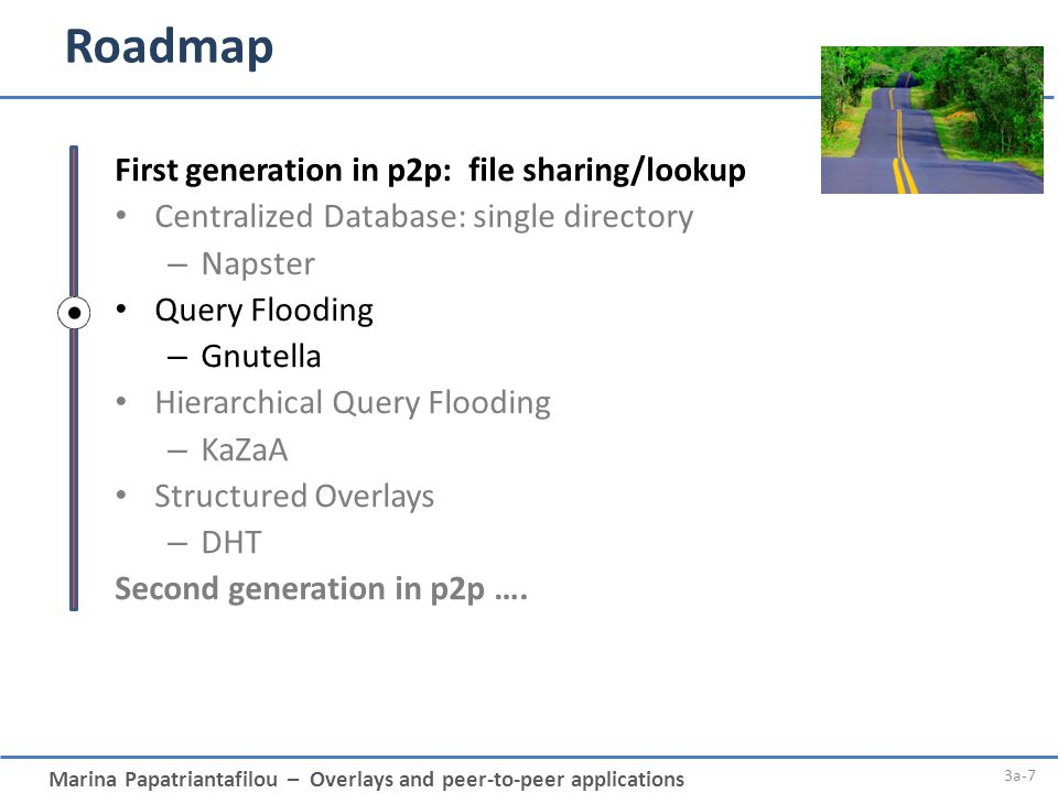 Roadmap First generation in p2p: file sharing/lookup