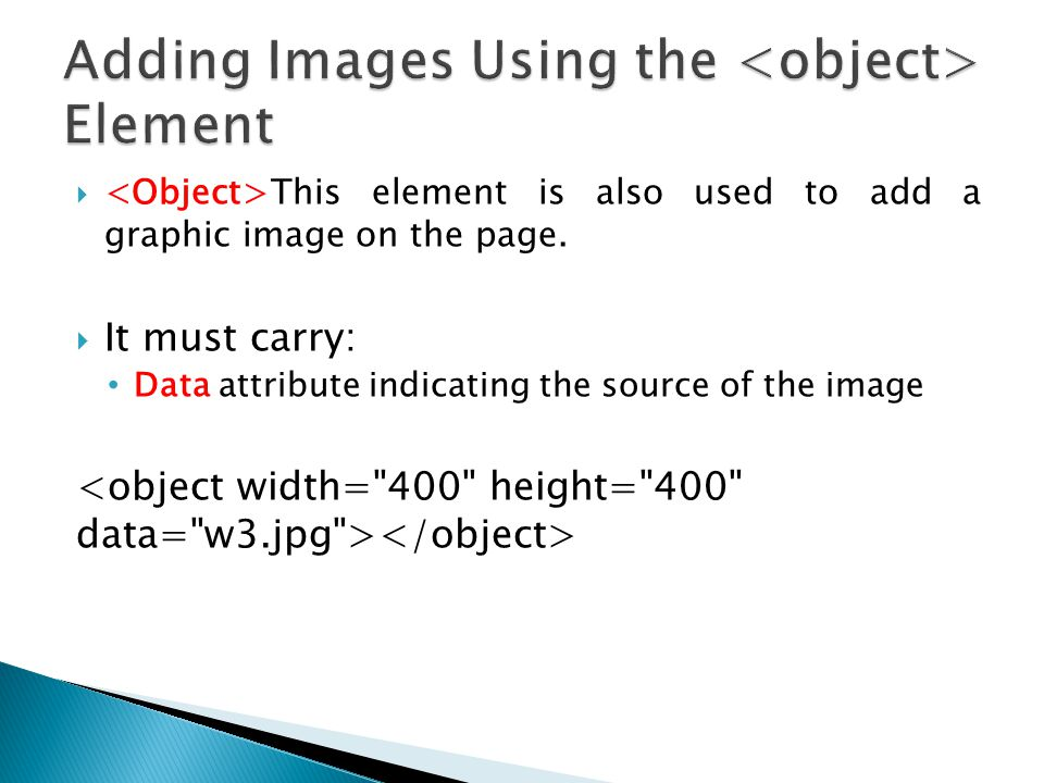Adding Images Using the <object> Element