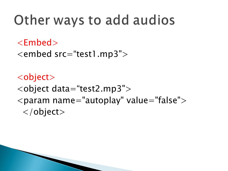 Other ways to add audios