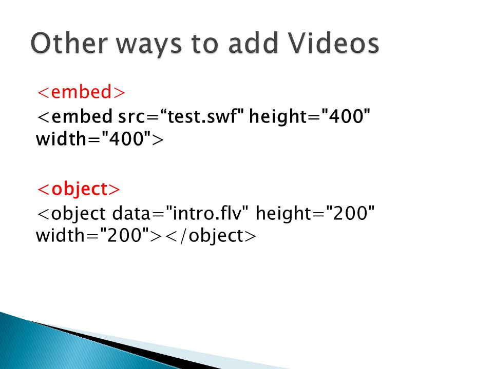 Other ways to add Videos