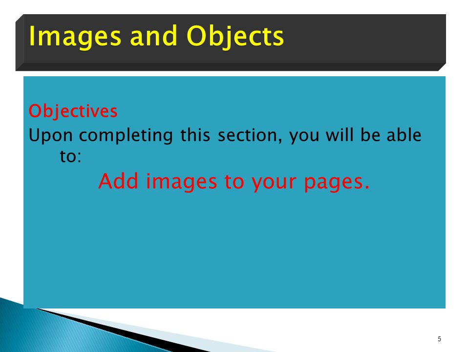 Add images to your pages.