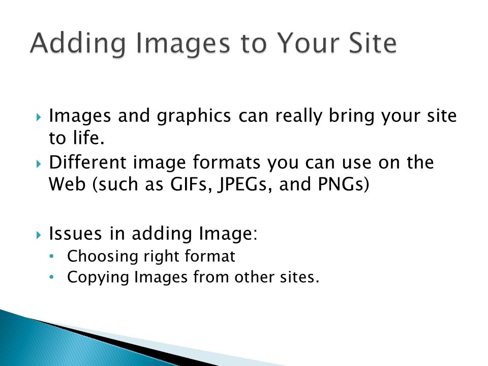 Adding Images to Your Site