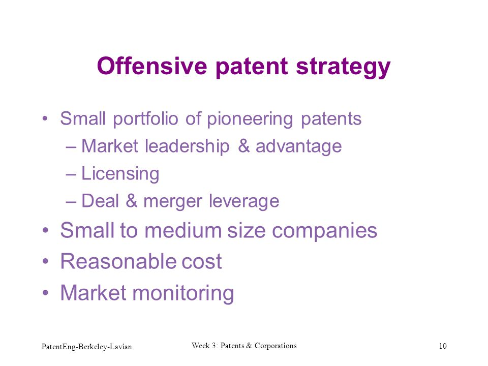 Offensive patent strategy