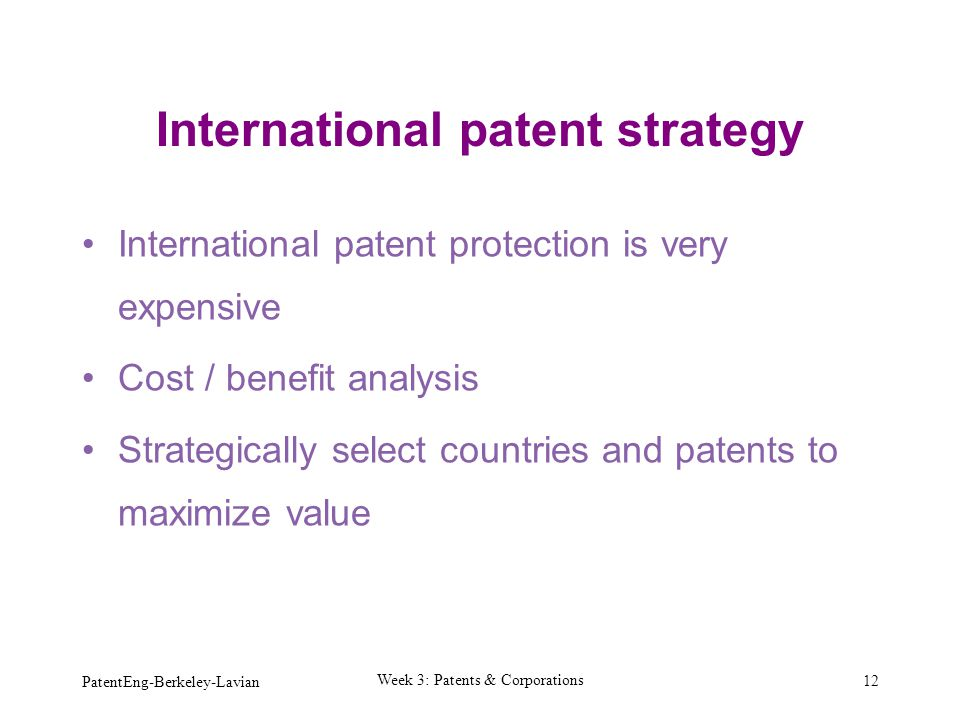 International patent strategy