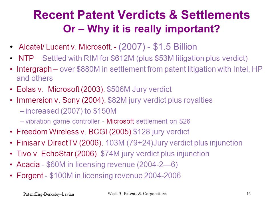 Recent Patent Verdicts & Settlements Or – Why it is really important