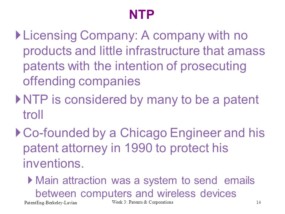 Week 3: Patents & Corporations