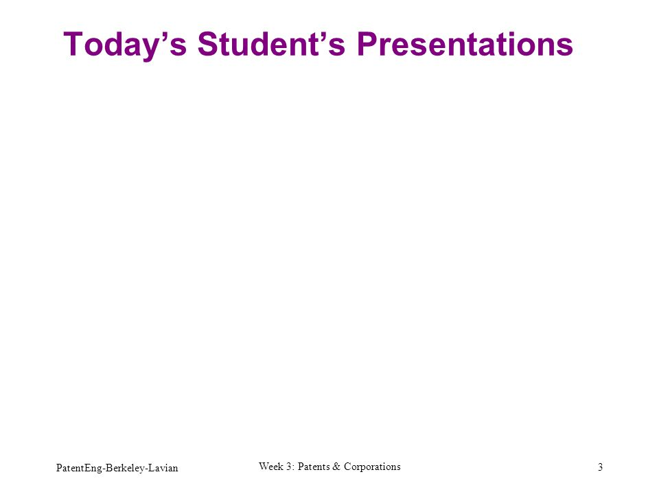 Today's Student's Presentations