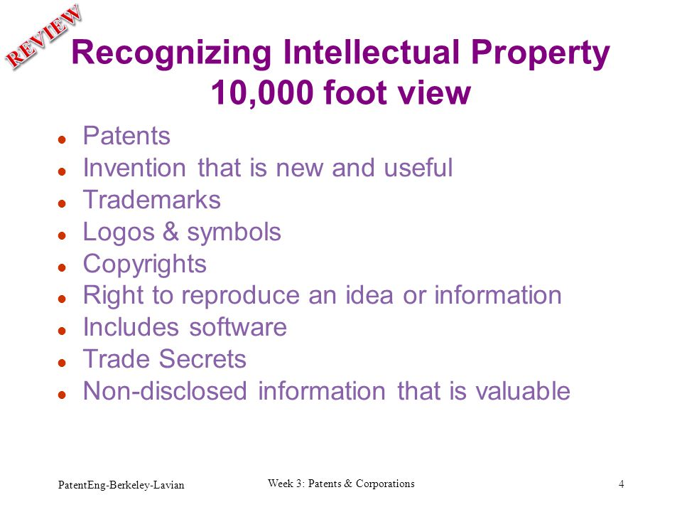 Recognizing Intellectual Property 10,000 foot view