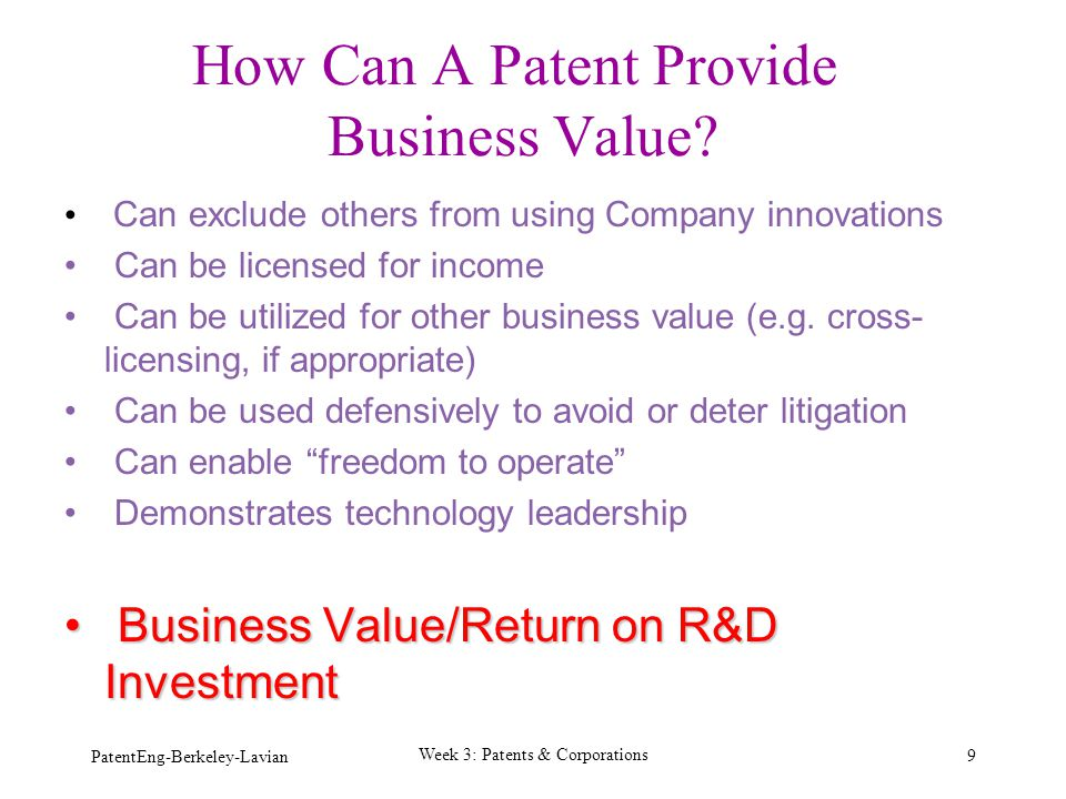 How Can A Patent Provide Business Value