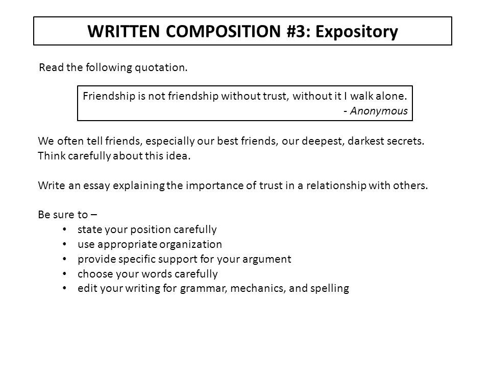 WRITTEN COMPOSITION #3: Expository