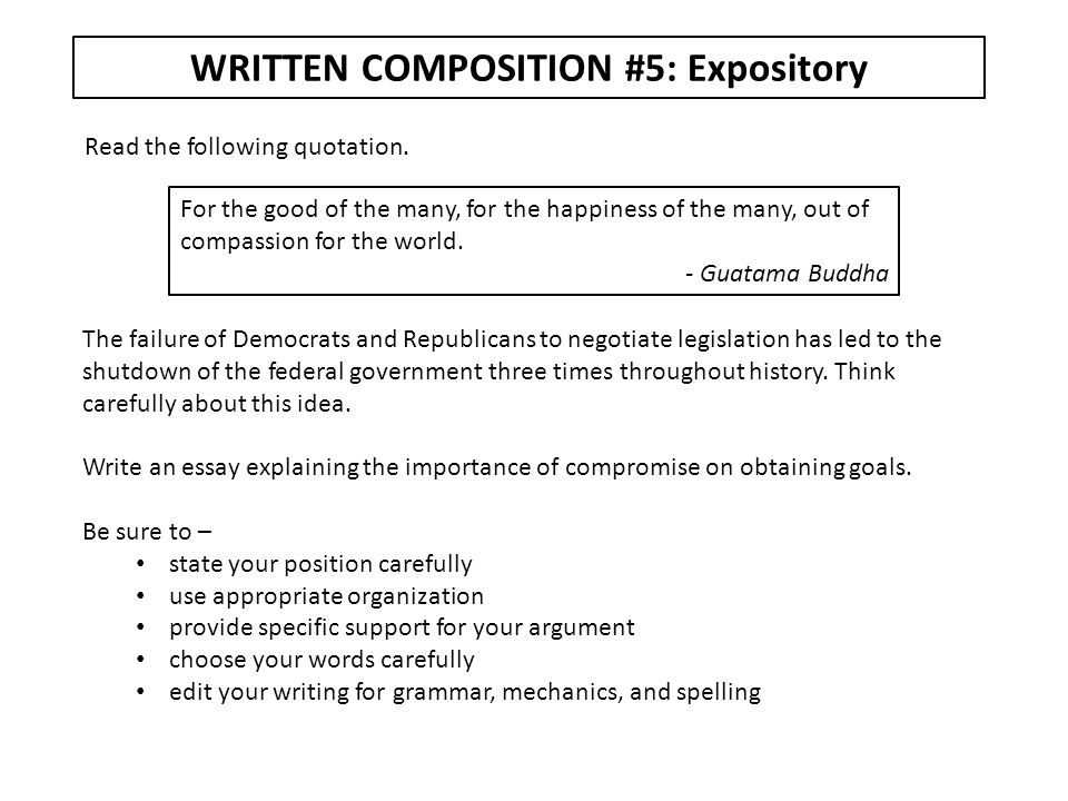 WRITTEN COMPOSITION #5: Expository