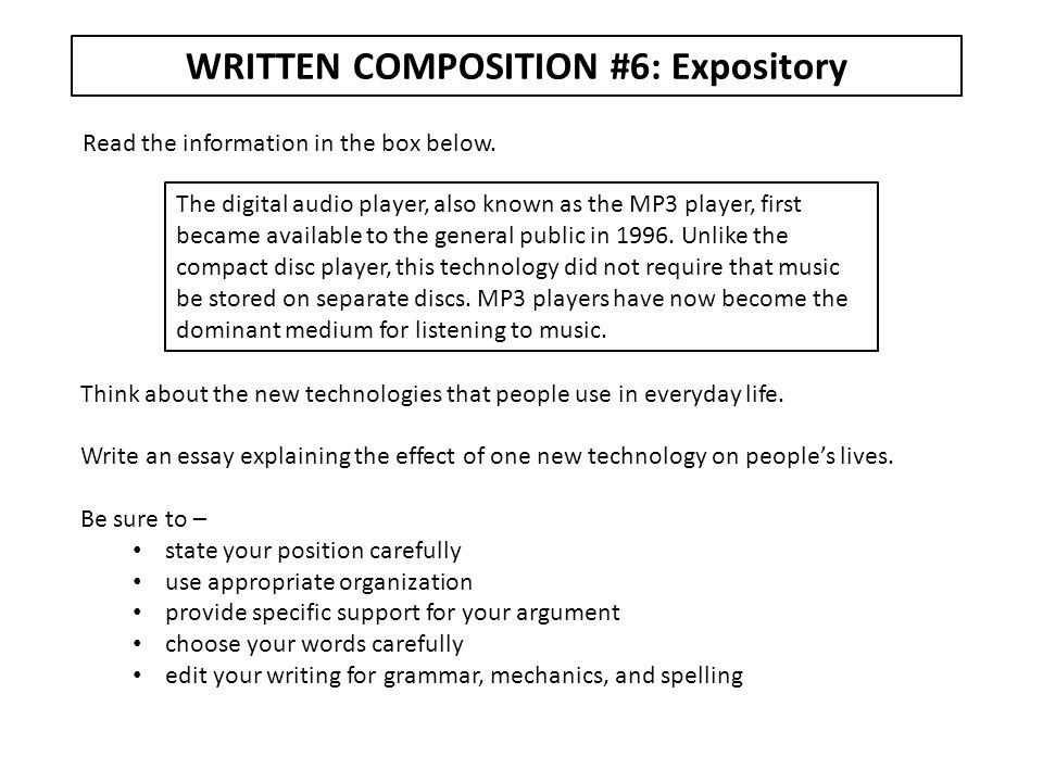 WRITTEN COMPOSITION #6: Expository