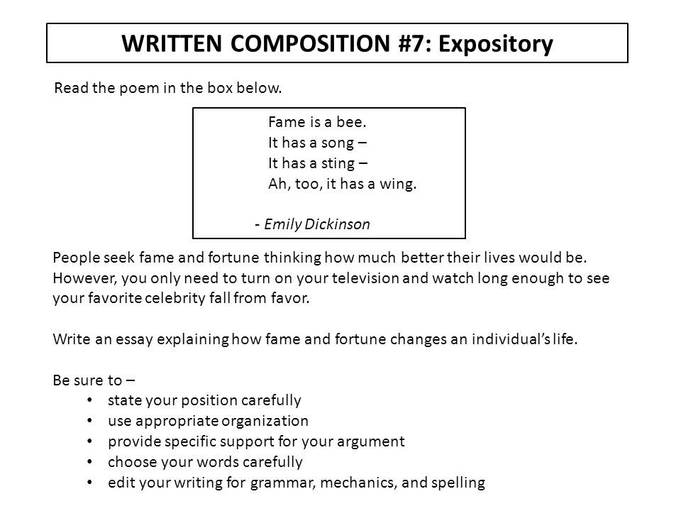 WRITTEN COMPOSITION #7: Expository