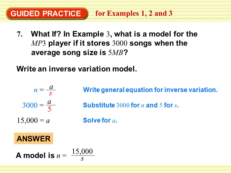 Write an inverse variation model.