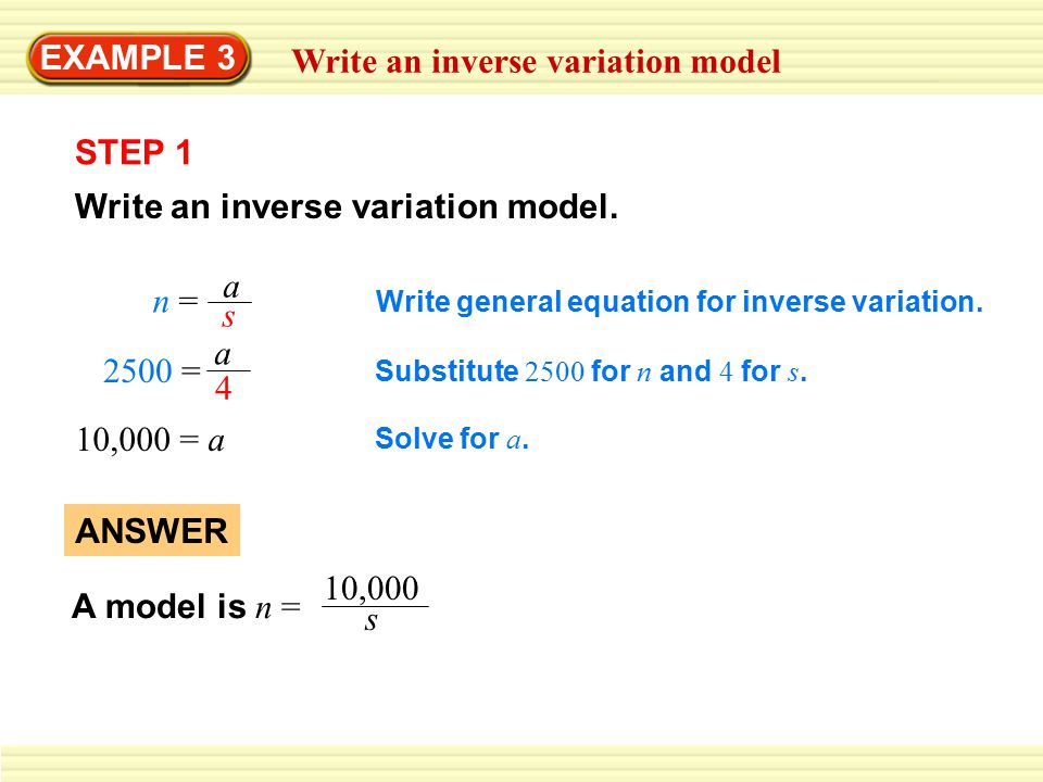 Write an inverse variation model