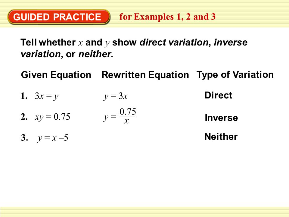 GUIDED PRACTICE for Examples 1, 2 and 3. Tell whether x and y show direct variation, inverse variation, or neither.