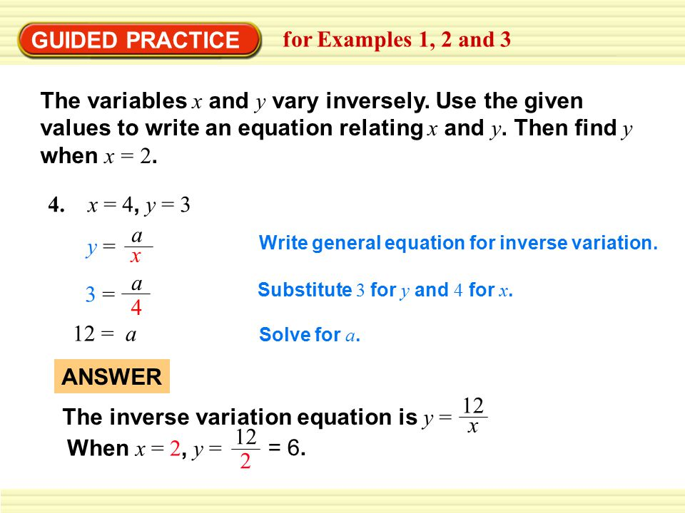 Inverse Variation Formula EXAMPLE 1 Classify dir...