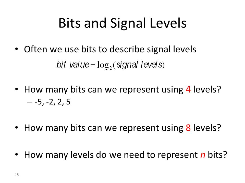 Bits and Signal Levels Often we use bits to describe signal levels