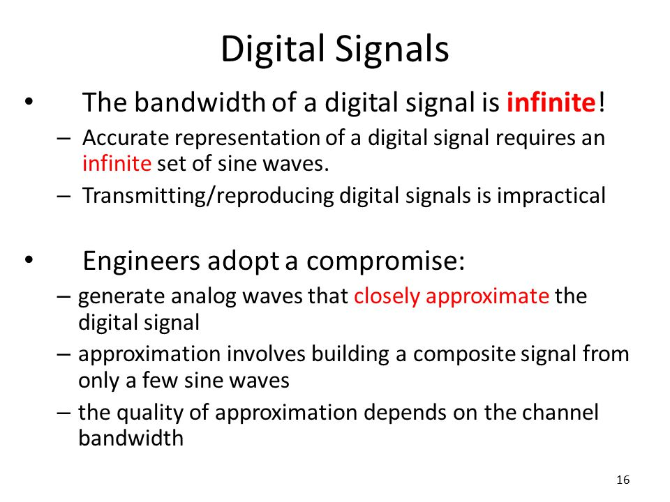 Digital Signals The bandwidth of a digital signal is infinite!