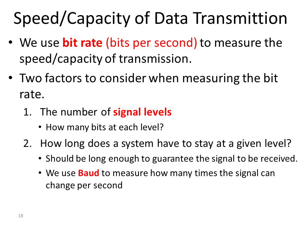 Speed/Capacity of Data Transmittion
