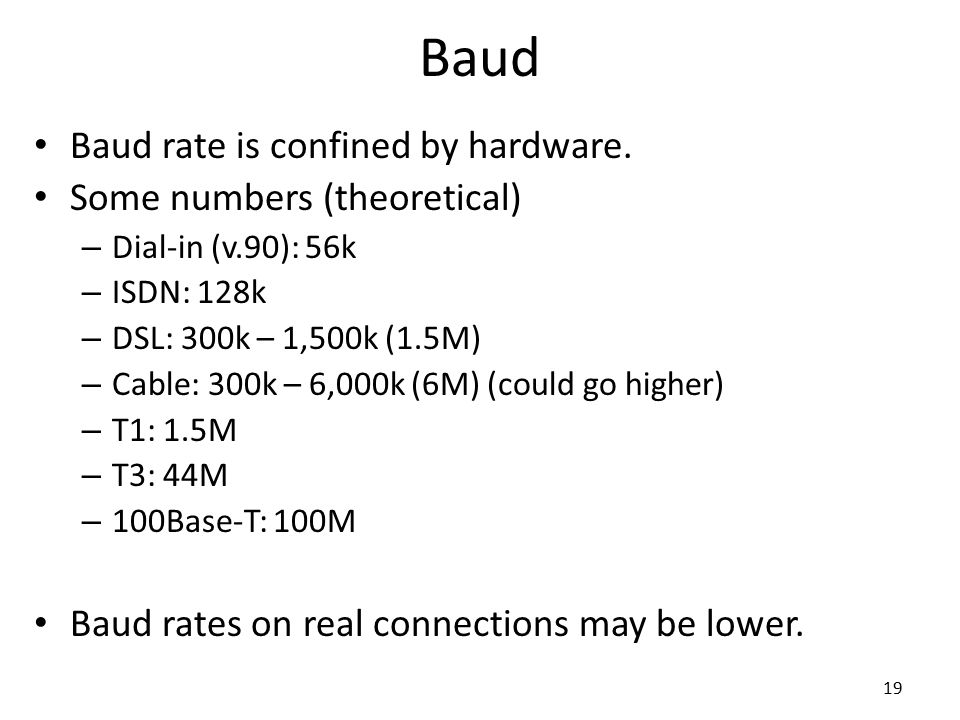 Baud Baud rate is confined by hardware. Some numbers (theoretical)