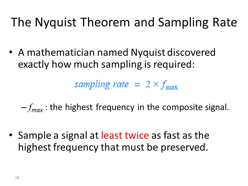 The Nyquist Theorem and Sampling Rate
