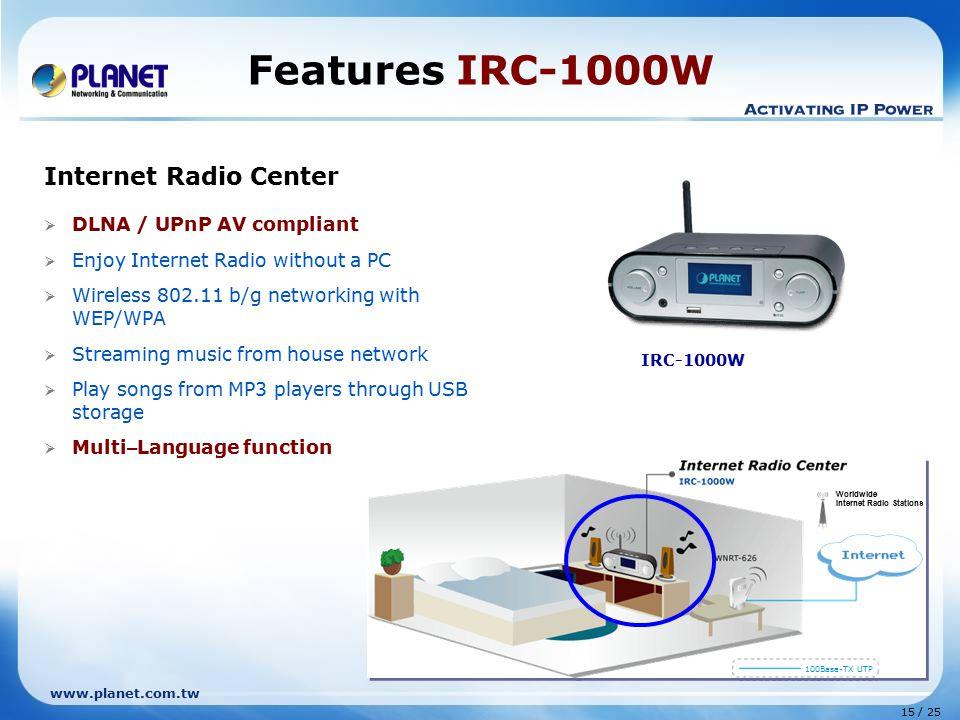 Features IRC-1000W Internet Radio Center DLNA / UPnP AV compliant