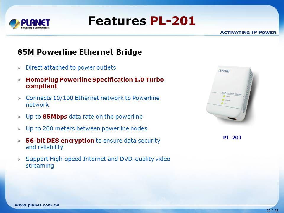 Features PL-201 85M Powerline Ethernet Bridge