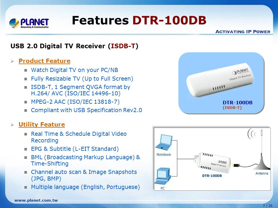 Features DTR-100DB USB 2.0 Digital TV Receiver (ISDB-T)
