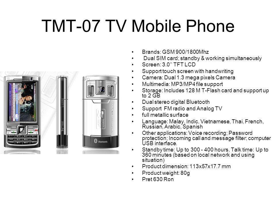TMT-07 TV Mobile Phone Brands: GSM 900/1800Mhz