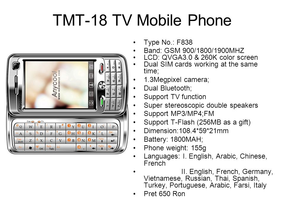 TMT-18 TV Mobile Phone Type No.: F838 Band: GSM 900/1800/1900MHZ