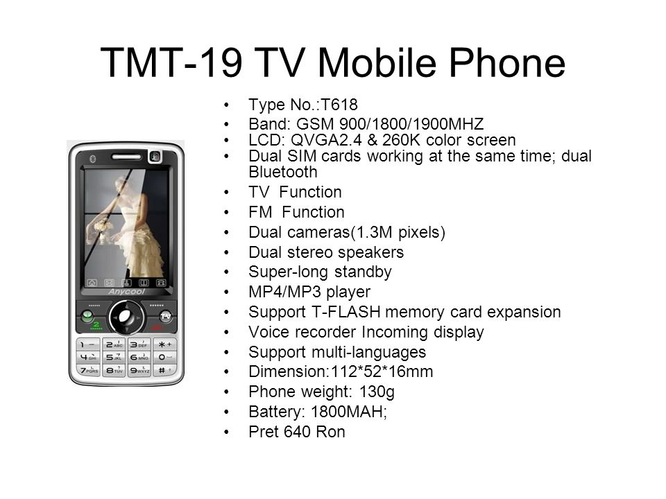 TMT-19 TV Mobile Phone Type No.:T618 Band: GSM 900/1800/1900MHZ